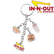 【メール便可】In-N-OutBurgerイン・アンド・アウトバーガー3つのメニューとロゴのチャーム付きキーホルダーキーチェーンアメリカ西海岸で人気のハンバーガーショップのグッズです!