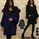 ウール コート 冬 ベル スリーブ ショール 襟 ウールコート 高級 ...