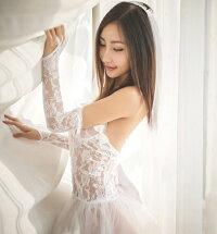 【BI-BD-007】セクシーウェディングドレスシースルーコスプレコスチュームパーティー衣装かわいい悩殺花嫁(フリーサイズ)