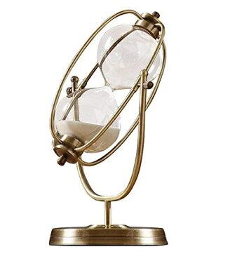 ヨーロピアン アンティーク風 回転式 ブロンズ枠の 砂時計 30分計 ホワイトの砂