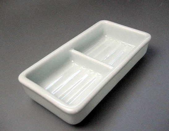 青白磁  仕切り皿  二品盛 【瀬戸焼】