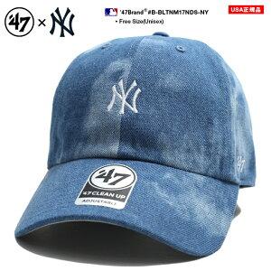 47BRAND ニューヨーク ヤンキース フォーティーセブンブランド 帽子 キャップ ローキャップ ボールキャップ CAP メンズ レディース インディゴブルー b系 ヒップホップ ストリート系 刺繍 シンプル ワンポイント デニム ブリーチ かっこいい おしゃれ MLB B-BLTNM17NDS-NY