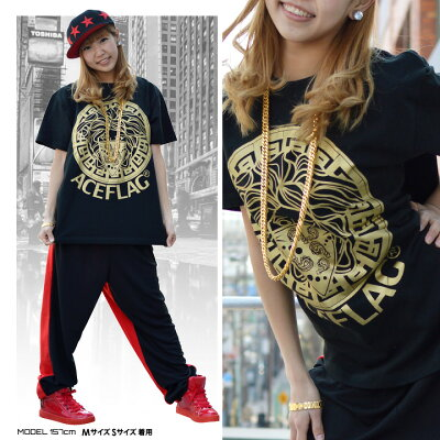 b系ヒップホップストリート系ファッションメンズレディースTシャツ【AF-TS-TS-005】≪SAMPLINGCHICANOMEDUSA≫ACEFLAGエースフラッグ半袖クルーネックメデューサ金プリントMLXL2XL3XL4XL5XL大きいサイズ白黒ベージュ02P23Aug15