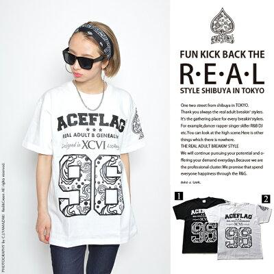 b系ヒップホップストリート系ファッションメンズレディースTシャツ【AF-TS-TS-007】≪96PAISLEYNUMBERINGTEE≫ACEFLAGエースフラッグ半袖クルーネックナンバーペイズリーフロントプリントMLXL2XL3XL大きいサイズあり白黒02P23Aug15