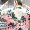 CIVIL REGIME Tシャツ 半袖 メンズ レディース 黄色 赤 M-2XL 大きいサイズ シヴィルレジーム かっこいい おしゃれ タイダイ染め カラフル 花柄 牡丹 総柄 ゆったりサイズ ビッグシルエット b系 ヒップホップ ストリート系 ファッション ブランド 服 20CV-SP05T【セール】