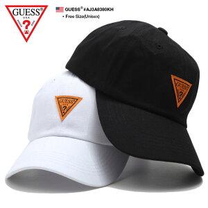 ゲス GUESS 帽子 キャップ ローキャップ ボールキャップ CAP メンズ レディース 白 黒 男女兼用 b系 ヒップホップ ストリート系 ファッション ブランド トライアングル 逆三角形ロゴ シンプル ワンポイント 刺繍 ワッペン かっこいい おしゃれ ギフト AJ3A8380KH