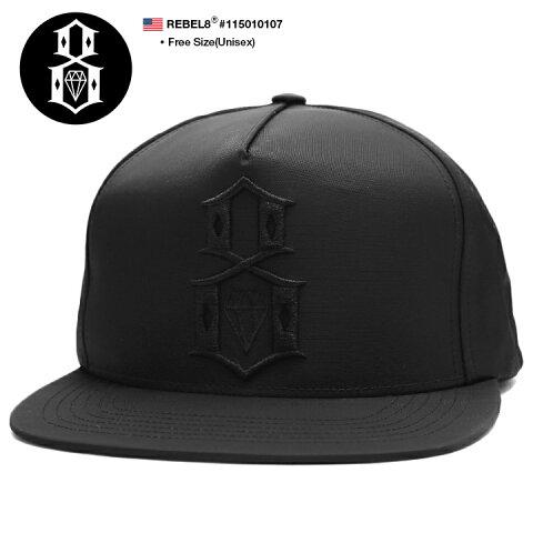 レベルエイト REBEL8 帽子 キャップ スナップバック CAP メンズ レディース 黒 b系 ヒップホップ ストリート系 ファッション ブランド 定番 ロゴ刺繍 高密度ナイロン オールブラック ナンバー Fサイズ かっこいい おしゃれ アメカジ ダンス スケート 115010107
