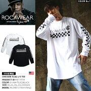 ストリート ファッション レディース ロカウェア Tシャツ シルエット ロンティー チェッカー フラッグ