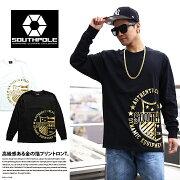 ストリート ファッション レディース エンブレム プリントロン Tシャツ ゴールド プリント ブランド