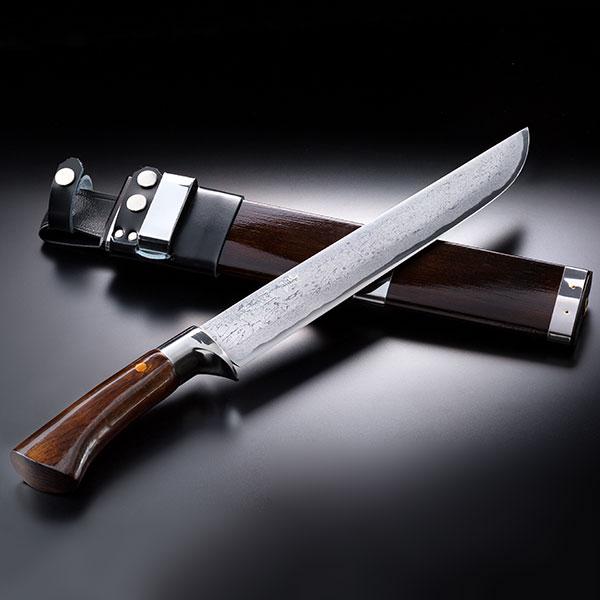 土佐 剣鉈 刃渡210mm ダマスカス安来青紙鋼