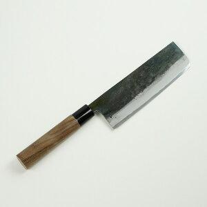 菜切包丁 青紙鋼 165mm 元兼 『極上』 鍛造黒打 両刃 (プレゼント 贈り物 母の日 父の日 お祝い)