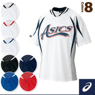 ASIC /ASICS 棒球制服和實踐穿襯衫 / 2 扣長袖 t 恤 (BAK504)
