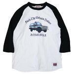 ANIMALIAアニマリア:7分袖ラグランポリスカーTシャツ/WHITE×BLACK