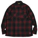 BLUCOブルコ:長袖オンブレーチェックワークシャツ/RED