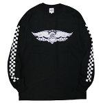 BLUCOWORKGARMENT[ブルコワークガーメント]長袖チェッカーフラッグTシャツ/BLACK