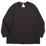 REMILLAレミーラ:9分袖ボーダーTシャツ/NAVY×BROWN