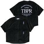 TIGHTBOOTHPRODUCTIONタイトブースプロダクション:半袖ストレートアップロゴベロアTシャツ/BLACK