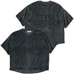 TIGHTBOOTHPRODUCTIONタイトブースプロダクション:半袖ストレートアップロゴベロアTシャツ/CHARCOAL