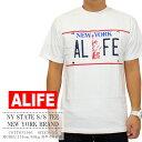 【ALIFE/エーライフ】最新作が入荷!!NY STATE S/S TEE/ジェス・エドワード フォー エーライフ 半袖 Tシャツ/ニューヨークのナンバープレートの様なデザインでPOPながら安っぽくならないクールな1枚。