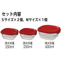 HARIO(ハリオ)耐熱ガラス製保存容器3個セット蓋カラー:レッド満水容量250ml/600ml