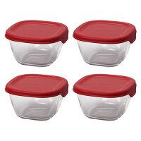 HARIO(ハリオ)耐熱ミニ角小鉢4個セット蓋カラー:レッド満水容量110ml