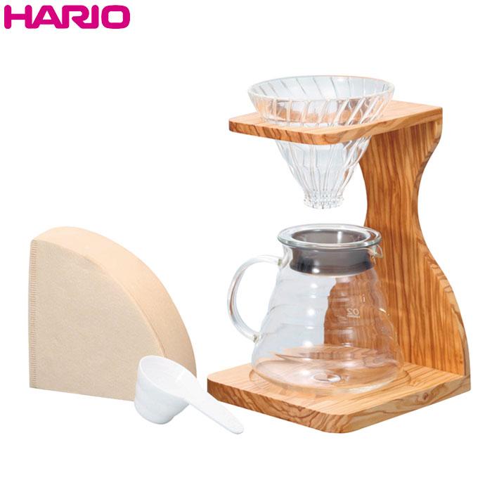 HARIO(ハリオ)V60オリーブウッドスタンドセット V60計量スプーン・濾紙100枚付き