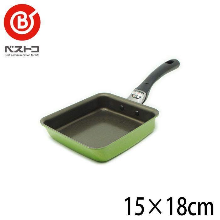ベストコ プレミアムコートIH玉子焼 15×18cm カラー:グリーン IH・オール熱源対応