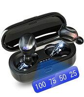 Bluetooth ワイヤレス イヤホン 瞬時接続 IPX7完全防水 ワイヤレスイヤホン LEDディスプレイ電量表示