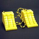 タイヤ歯止め タイヤストッパー ダブル2個組の1.2Mロープ付黄...