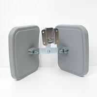 2面鏡タイプガラス製ガレージミラー。左右をはっきり確認できます。駐車場、ガレージ、車庫出入口に。防犯ミラーにも。