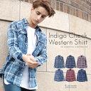 ◆スリムフィットインディゴチェックシャツ◆インディゴシャツ シャツ ヴ...