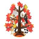サンリオ 秋カード 立体 紅葉の木にネコがいっぱい P471
