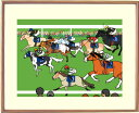 額付きイラスト ~品種ダービー~馬のイラストレーター おがわじゅり 直筆サイン入り色々な品種の馬たちがレースしたら面白いですよね~(^^♪送料無料