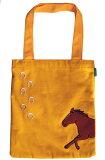 馬と蹄鉄・サガラ刺繍トートバッグ・イエロー・黄・デイジー帆布素材トートバッグイラストおがわじゅり  ホースシューオリジナル