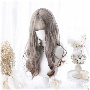 フルウィッグコスプレウィッグカツラ自然原宿ロリータ高品質姫髪つけ毛かつら前髪ゴスロリグラデーション耐熱ネット付き日常女性耐熱小顔効果抜群パーディー原宿ガール可愛いハロウィンH200
