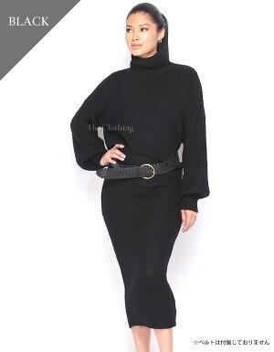 【LA直輸入★インポート】タートルネックセーター&スカートニットアップ-f-hc-set007-詳細画像