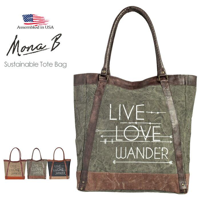 男女兼用バッグ, トートバッグ Mona B. Live Love Wander Canvas Tote