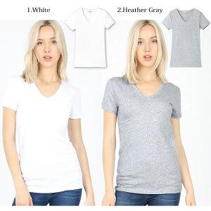 LAインポートVネック半袖無地Tシャツ-f-zn-te001-詳細画像