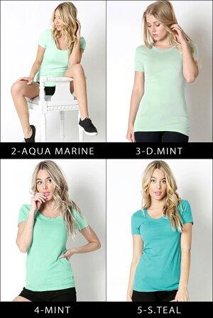 LAインポートラウンドネック半袖無地Tシャツ-f-zn-te002-n-カラー別画像
