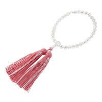 本水晶8ミリ彩色編蛍正頭珊瑚色略式数珠(女性用)