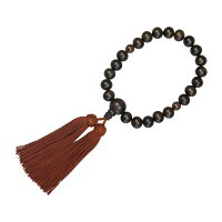 数珠(男性用略式)素挽縞黒檀22珠(茶水晶)正絹房