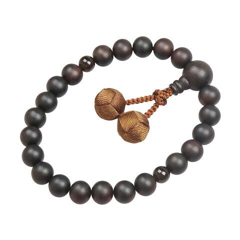 数珠 (男性用 略式)京念珠/全宗派対応/素挽 縞黒檀 22珠 (茶水晶) 利久梵天 送料無料