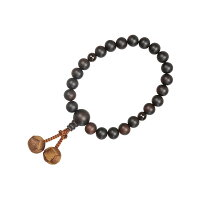 数珠(男性用略式)素挽縞黒檀22珠(茶水晶)利久梵天