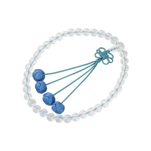 数珠 (女性用 略式) 京念数/全宗派対応/本水晶7mm 利久梵天 華結び 薄藍 送料無料