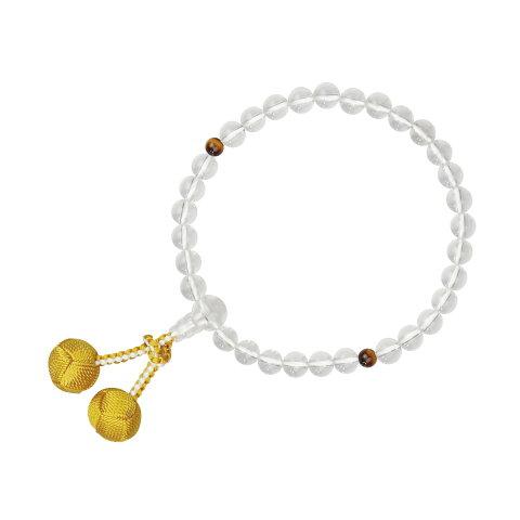 数珠 片手 子供用 水晶 虎目入 利久梵天房 辛子 念珠 送料無料