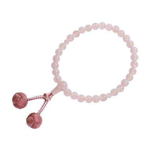数珠 片手 子供用 紅水晶 利久梵天房 灰桜 念珠 送料無料