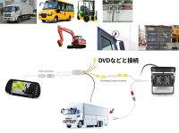 重機、バス、トラック対応ガイドライン表示バックカメラセット12-24V対応7インチ高輝度ルームミラーモニター20m配線付き防水赤外線バックカメラセットRM71SET