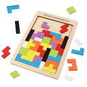 40ピース木製パズル カラフル40ピース ロシアンブロック 温かみある木のおもちゃ タングラム 発想力 思考判断力 図形認識力を育む 知育玩具 TTRIS40