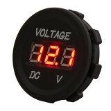デジタル電圧計 短絡保護回路内蔵 小型サイズ 12/24V車対応 シンプルLED表示 B700G