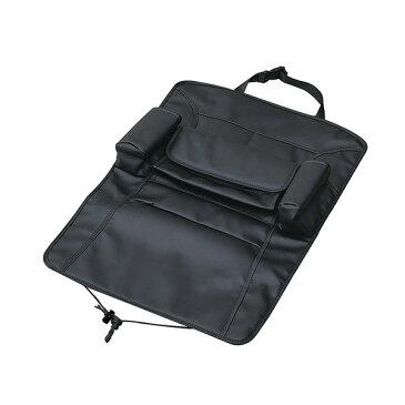 セイワ シートバックポケット プレミアム 車内 小物収納 ティッシュボックス ドリンク レザー調 ブラック WA8